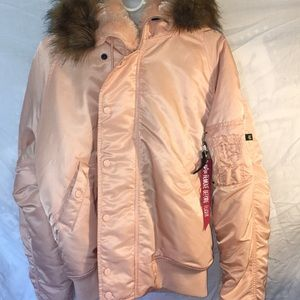 Alpha Industries Pastel Pink Puffer Jacket
